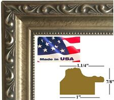 """1.25"""" Antique Silver Victorian Ornate Wood Picture Poster Frame DM-S-W-1.25-6661"""