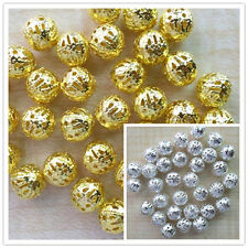 200pcs Gold/Silver Plated Hollowed Filigree round ball spacer beads 4mm,6mm,8mm