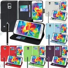 ETUI COQUE HOUSSE RABATTABLE PORTEFEUILLE CUIR SUPPORT VIDEO SAMSUNG GALAXY S5 V