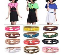 New Fashion Candy Color Big Bowknot Leather Thin Skinny Waistband Belt For Women