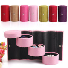Travel 7 Tier Roll Up Ring Necklace Jewelry Display Storage Box Cosmetics H150