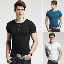 Tops Muscle Sexy Cool Men Slim Fit Cotton Lycra O-Neck Casual T-Shirt Basic Tee