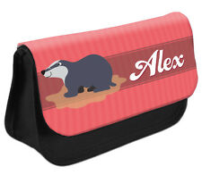 PERSONALISED Badger Pencil Case Make up Bag - Kids School Great Gift Idea DS