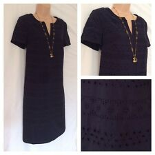 MARKS AND SPENCER M&S PER UNA COTTON BRODERIE NAVY SHIFT DRESS £55.00