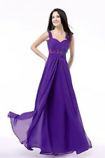 New Stock Women Shoulder Chiffon Long Bridesmaid Evening Party Formal Prom Dress