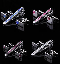 Mens Crystal Silver Chrome Stainless Steel 6.0CM Tie Clip Bars and Cufflinks Set