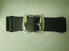 NEW Elastic Stretch Belt with PVC Tab and Silver Buckle with Rhinestones