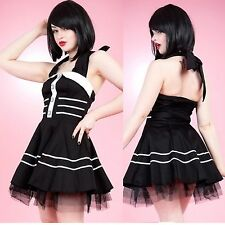 Hearts and Roses Black & White Pipping Mini Dress Vintage Rockabilly AUS STOCK