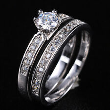Size 6-9 Brand Jewelry Lady's Diamonique Wedding Couple Ring Set Silver Filled