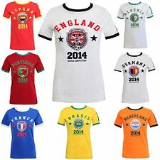 NEW WOMENS LADIES WORLD CUP 2014 PRINTED TOP NATIONAL FOOTBALL SOCCER T SHIRT UK