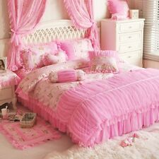 HotPink and Black Rose Girls Polka Dot Lace Tulle Ruffle Bedding