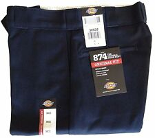 Dickies Men Original Fit Classic 874 PANTS Navy Work Uniform Bottoms All Sizes