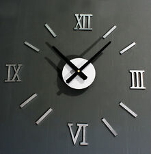 Metal Texture Creative DIY Wall Clocks Roman Numerals Home Decor Antique Style