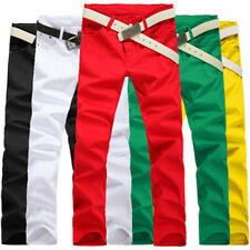 Korean Style Men Candy Color Slim Pencil Pants Casual Skinny Jeans Trousers ES
