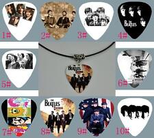 The Beatles Guitar Pick Necklace , Tibetan Silver Pendant Leather Cord