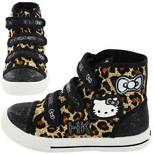 Hello Kitty Nordland Canvas Hi Top Trainers - Black (Sizes 8,9,10,11,12,13,1,2)