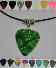 Medium 0.71mm Guitar Pick Necklace , Tibetan Silver Pendant Leather Cord