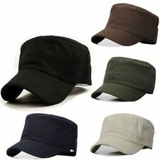 Men Classic Plain Vintage Army Hat Cadet Military Patrol Cap Adjustable Basebal