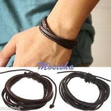 Multilayer Braided Waxed Cord + Real Leather Surf Adjustable Bracelet Men Women