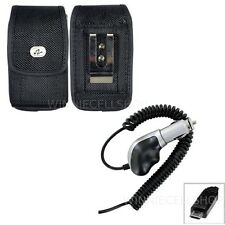 Heavy Duty Car Charger + Vertical Rugged Canvas Clip Case for NOKIA Cell Phones