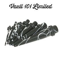 Black Acryllic Ear Stretcher Taper / Plug - 1.2mm-10mm MARBLE EFFECT