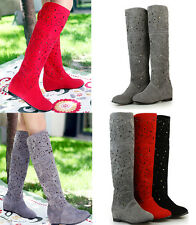 Women's summer knee High Boots Girls School Shoes Wedge Sandals Shoes US5-US10