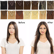 """7pcs Clip in Full Head Human Hair Extensions 100g 120g 140g Any Colors 16""""-30"""""""