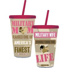 Cypress Military Mom or Wife Acrylic Travel Tumbler Cup with Straw