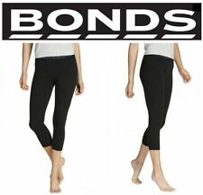 WOMENS BONDS BLACK 3/4 LEGGINGS GYM SPORTS PANTS LADIES COTTON  XS S M L XL XXL