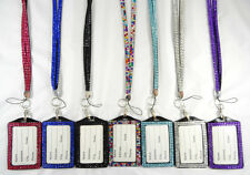 New Rhinestone Bling Crystal Cell Phone ID Badge Holder Lanyard Necklace NWT
