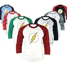 Superhero DC Comics The Flash 3/4 Sleeve Raglan Baseball T Shirts Jersey Top