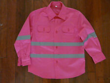 HI VIS Kids Hot Pink Long Sleeve Work Shirt - FREE POSTAGE With/Without LOGO