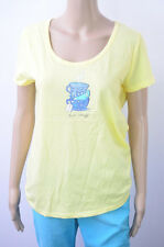 Women Yellow Blue Knit top Tee Shirt Hot Stuff Cute Coffee Tea Cups Mint