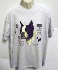 BOSTON TERRIER HISTORY Blue Cotton Blend T Shirt Sizes  Small Thru 4XLarge NWOTS