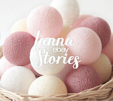 Cotton Ball Wedding String Lights - Patio Party Bedroom Sweet Rosy Brown Pastel