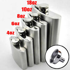 New Stainless Steel Hip Liquor Whiskey Alcohol Flask Cap 4 6 8 10 18 oz + Funnel