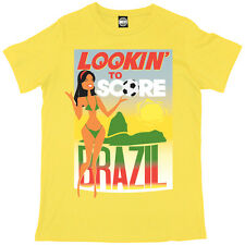LOOKING TO SCORE MENS BRAZIL WORLD CUP 2014 FOOTBALL SUPPORTERS FUN T-SHIRT