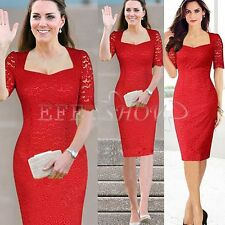 NEW LADIES 1/2 SLEEVE LACE MIDI DRESS WOMENS FLORAL LACE BODYCON DRESS TOP S-XXL