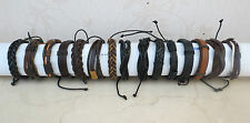 Mens/Boys Black or Brown Leather Bracelet Wristband ethnic tribal bracelet