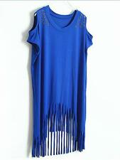 Lady Fashion Rivet Tops with Fringing Party Club Dinner Casual Blouse T-shirt