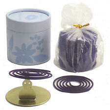 LAVENDER 50 COIL INCENSE GIFT CAN with BUNNY COIL HOLDER + Free Organza Bag