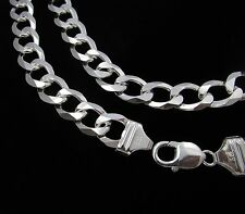 Mens 13 mm Real 925 Sterling Silver Solid Thick Heavy Cuban Link Wide Curb Chain