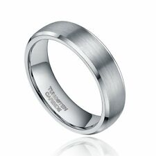 6mm Brushed Tungsten Carbide Ring Classic Silver Wedding Band Half Sizes 4-12