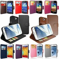 Colour Leather PU Side Flip Wallet Phone Case Cover For Various Samsung Galaxy