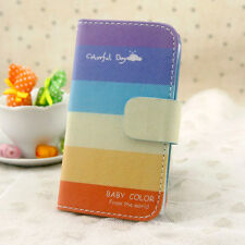 Colorful day & Rainbow wallet case slot flip leather Case cover for HTC Model