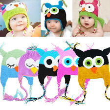 New Cute Baby Boy Girl Kids Toddler Owls Knit Crochet Ear Flap Hat Beanie Caps