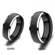 6mm Men's Tungsten Carbide Ring Wedding Band Black Plated Tungsten Edges Polish
