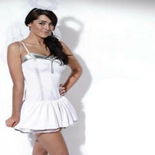 Ladies Womens White Angel Fancy Dress Silver Fluffy Halo Wings Sexy Christmas