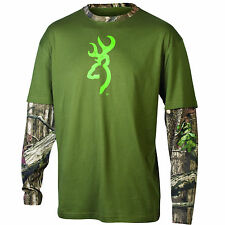Browning Men's Moss and Camo Layered Long Sleeved T-Shirt NEW!