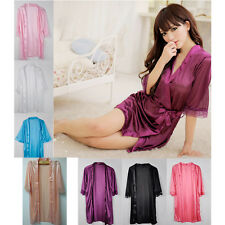 Hot Sexy Women Satin Lace Robe Sleepwear Lingerie Nightdress G-string Pajamas